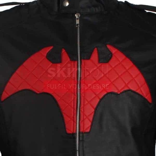 BATMAN BEYOND COMIC MOVIE RED AND BLACK LOGO MEN'S WINTER HALLOWEEN LEATHER JACKET CLOSE UP
