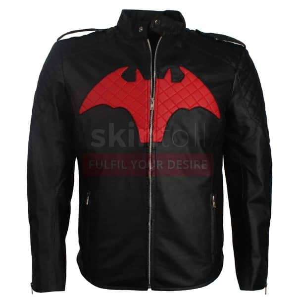 BATMAN BEYOND COMIC MOVIE RED AND BLACK LOGO MEN'S WINTER HALLOWEEN LEATHER JACKET Featured