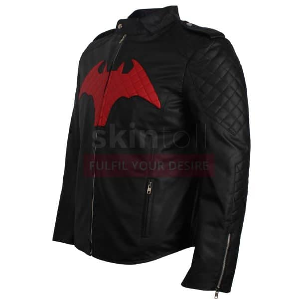 BATMAN BEYOND COMIC MOVIE RED AND BLACK LOGO MEN'S WINTER HALLOWEEN LEATHER JACKET LEFT