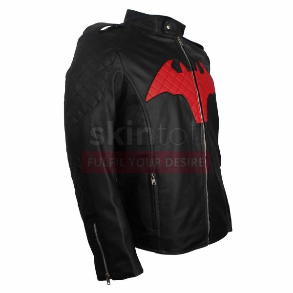 BATMAN BEYOND COMIC MOVIE RED AND BLACK LOGO MEN'S WINTER HALLOWEEN LEATHER JACKET RIGHT