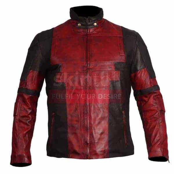 Ryan Reynolds Deadpool Black And Red Waxed Leather Jacket