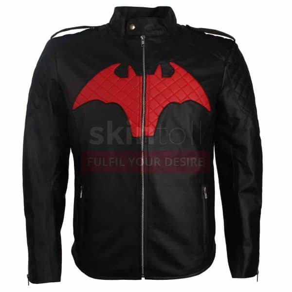 batman logo beyond comic leather jacket