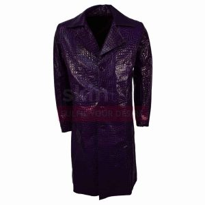 Suicide Squad Jared Leto Joker Purple Leather Coat