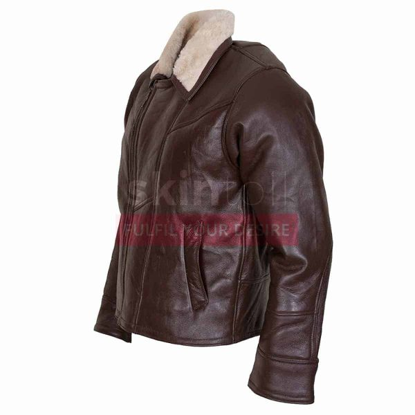 B3 Aviator Ginger Faux Fur Linnig Winters Leather Jacket left