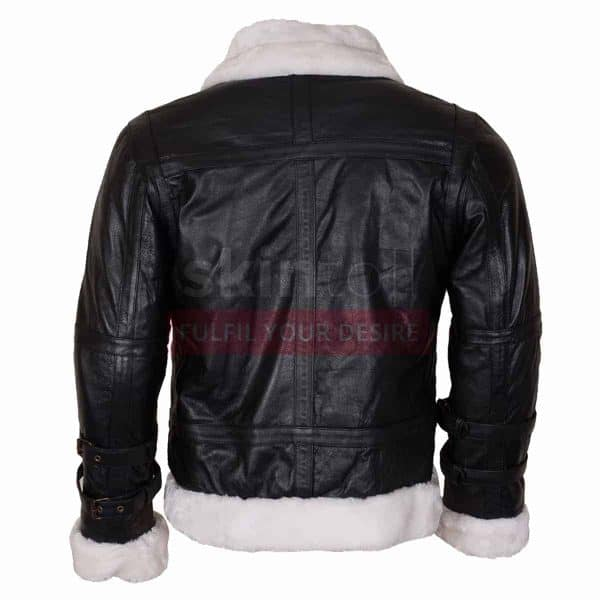 B3 Aviator Ginger Fur Lined Winters Warm Hooded Black Bomber Leather Jacket