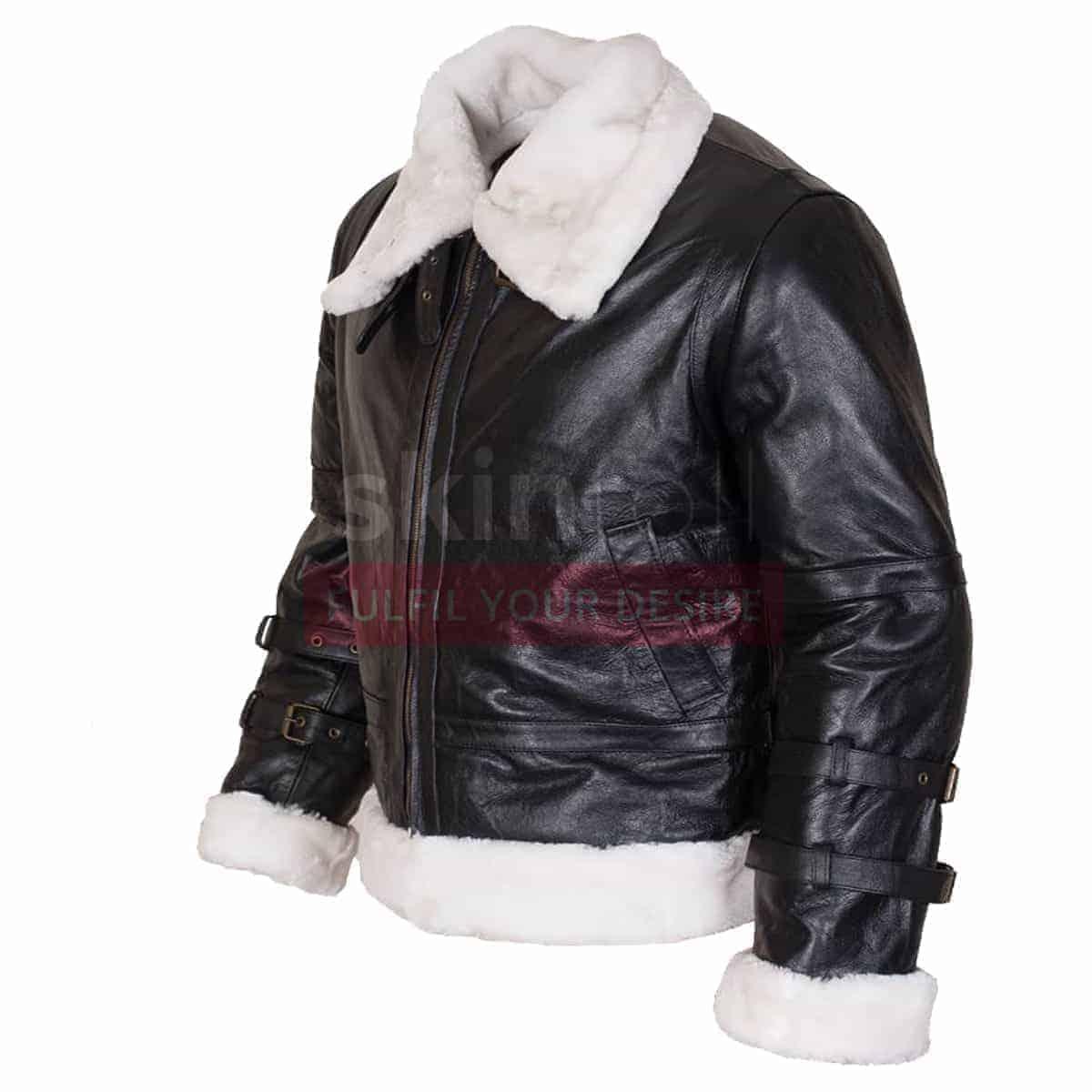 4d640f837 B3 RAF Aviator Flight Black Hooded Real Leather Jacket