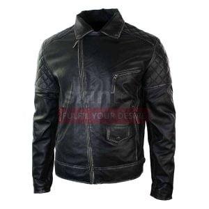 Men Motorcycle Brando Black Punk Vintage Leather Jacket