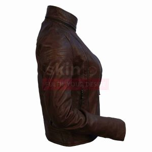 Women Choco-Brown SlimFit Motorcylce Leather Jacket