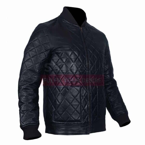 Classic Diamond Quilted Motorbiker Fashion Leather 2 Jacket