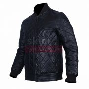 Classic Diamond Quilted Motorbiker Fashion Leather Jacket