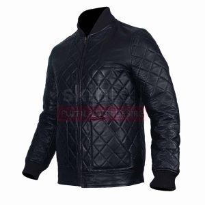 Classic Diaamond Quilted Motorcycle Fashion Rider Black Racer Leather Jacket