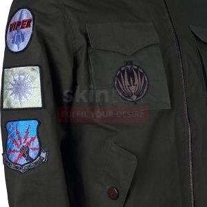 Green Air Flight Bomber Flying Embroidered Cotton Jacket