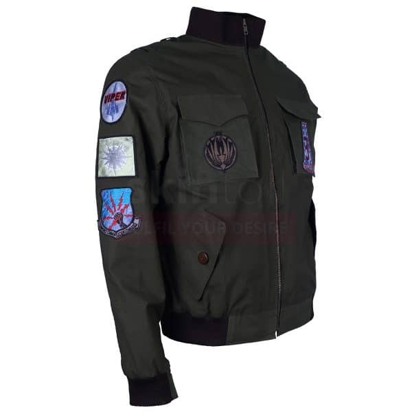 Green men Air Flight Bomber Flying Embroidered Cotton Jacket