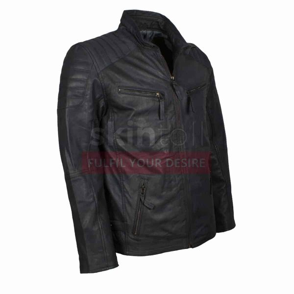 Grey Biker Leather Jacket