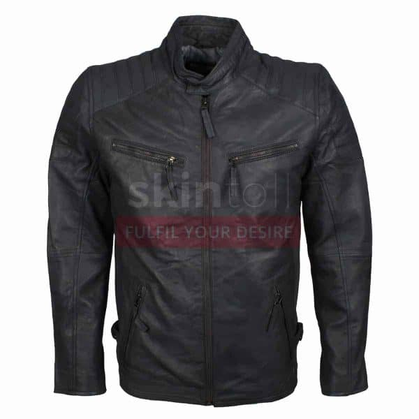 mens grey leather jacket