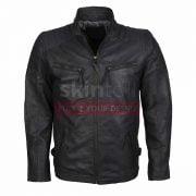 Grey Biker Motorcycle Top Grade Designer Leather Jacket
