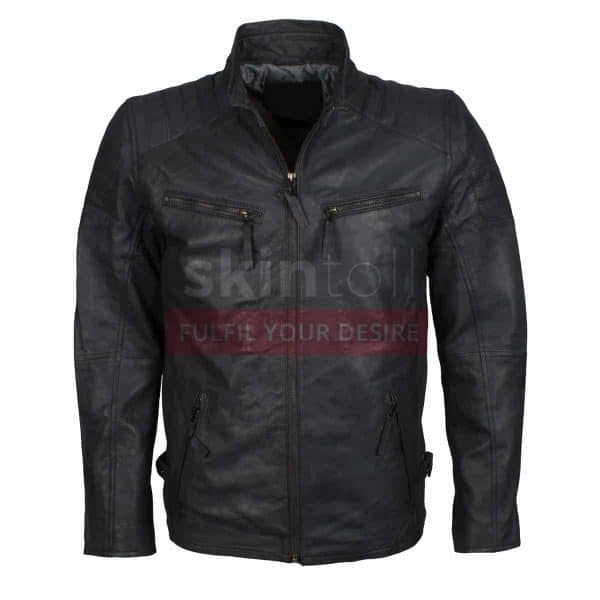 Grey Biker Motorcycle Top Grade Designer Leather Jacket