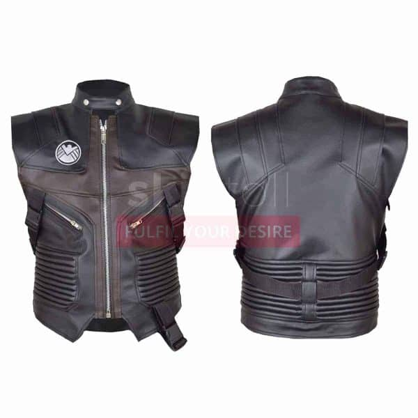 Hawk Eye Avengers Jeremy Renner Leather Biker Vest