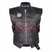 Jeremy Renner Leather Motorcycle Vest mens