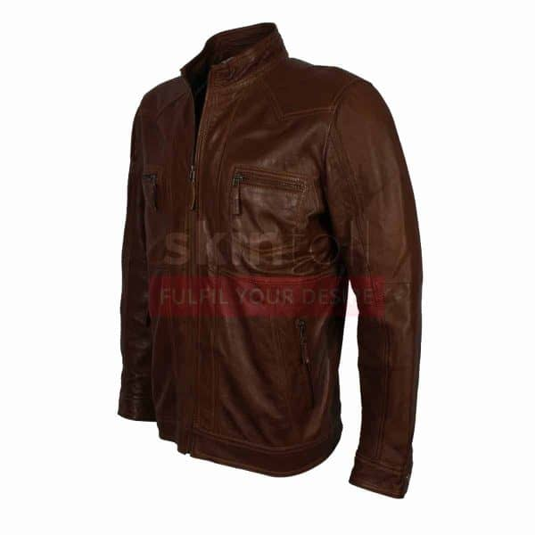 Men Casual Wear Brown Fashion Nappa Leather Jacket