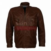 Men Casual Wear Classic Brown Fashion Nappa Leather Jacket