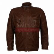 designer brown leather jacket mens fashion