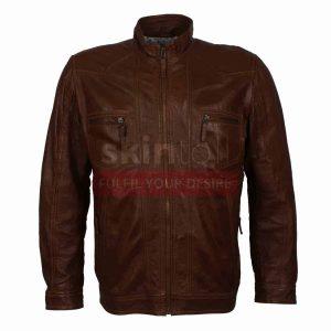 designer brown leather jacket mens fashion