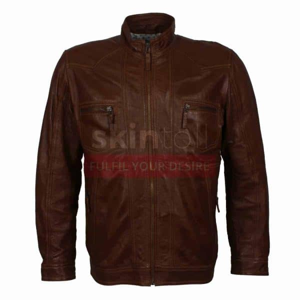 Men Casual Wear Classic Brown Nappa Leather Jacket