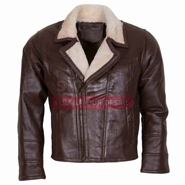 Mens B3 Aviator Ginger Faux Fur Linnig Winters Warm Brown Leather Jacket