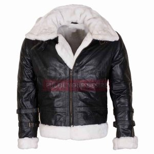 B3 Mens Aviator Ginger Fur Lined Hooded Winters Warm Bomber Black Leather Jacket