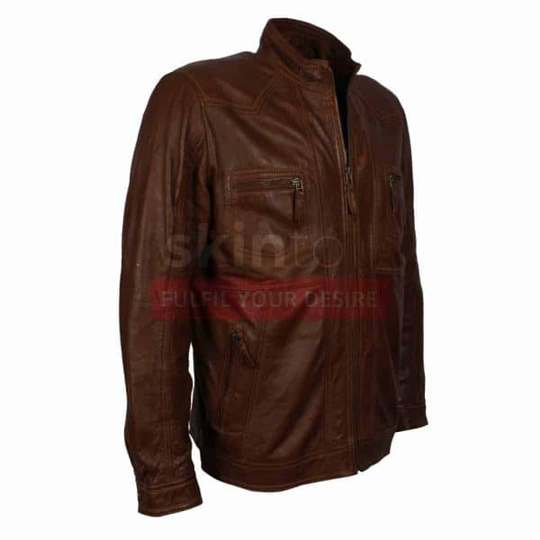 Mens Casual Wear Classic Brown Fashion Nappa Leather Jacket
