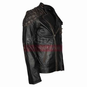 Motorbiker Skull Rider Distressed Leather Jacket