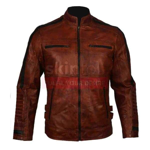 mens vintage cafe racer motorcycle jacket brown waxed leather