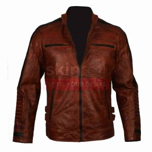 Cafe Racer Motorbiker Vintage Brown Waxed Leather Jacket