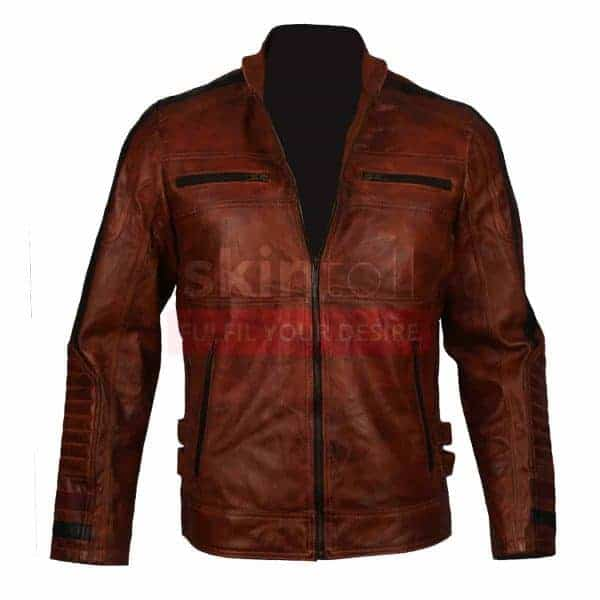 Motorbiker Vintage Brown Waxed Cafe Racer Rider Leather Jacket