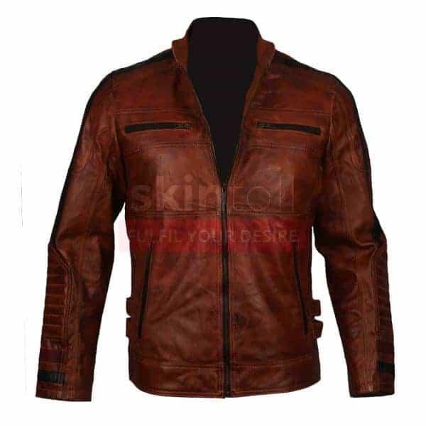 Cafe Racer Motorbiker Vintage Brown Waxed Leather Jacket