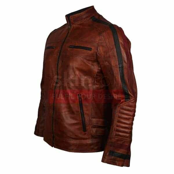 Motorbikers Vintage Brown Waxed Cafe Racer Rider Leather Jacket