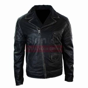 Men Vintage Brando Punk Black leather jacket Motorcycle