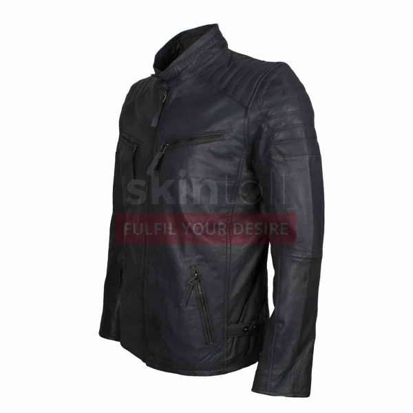 Motorcycle Grey Leather Jacket