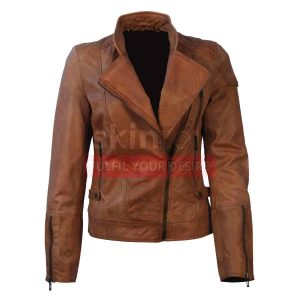 New Classic Brown Women Motorcycle Biker LambSkin Leather Jacket.jpg