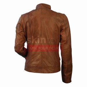 New Classic Brown Women Motorcycle Biker LambSkin Leather Jacket.jpg