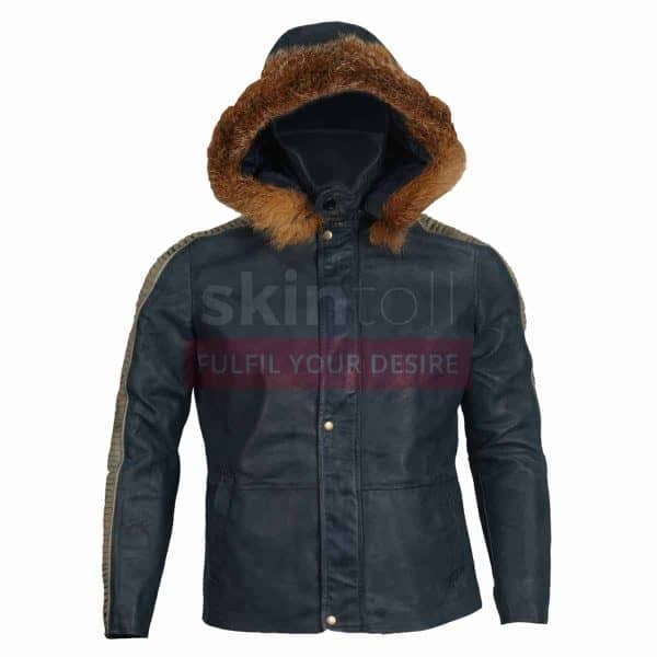 Rogue one Star wars Fur Hooded Leather jacket