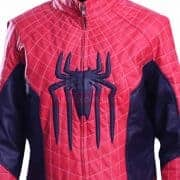 Spiderman Peter Parker Mens Red And Blue Cosplay Leather Jacket
