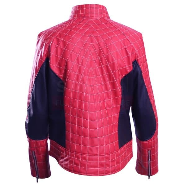 Spiderman Peter Parker Mens Red And Blue Cosplay Leather Jacket back