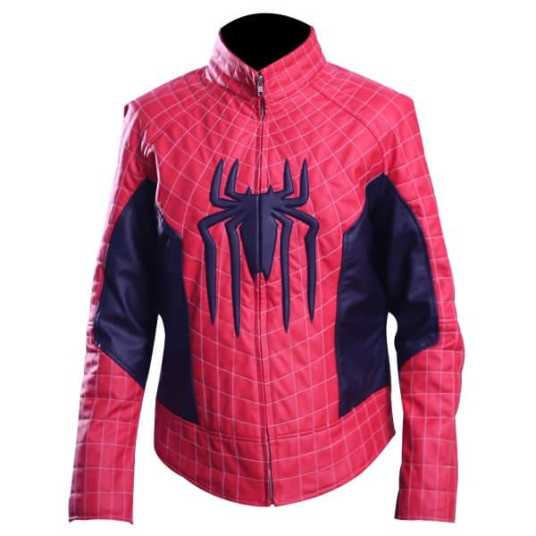 Spiderman Peter Parker Red And Blue Cosplay Leather Jacket