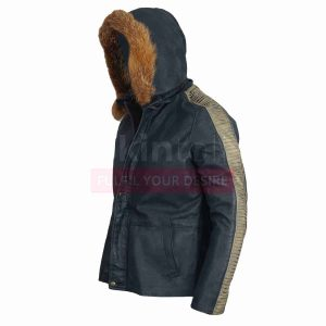 Star Wars Movie Fur Hood Vintage Casual Bomber Real Leather Jacket