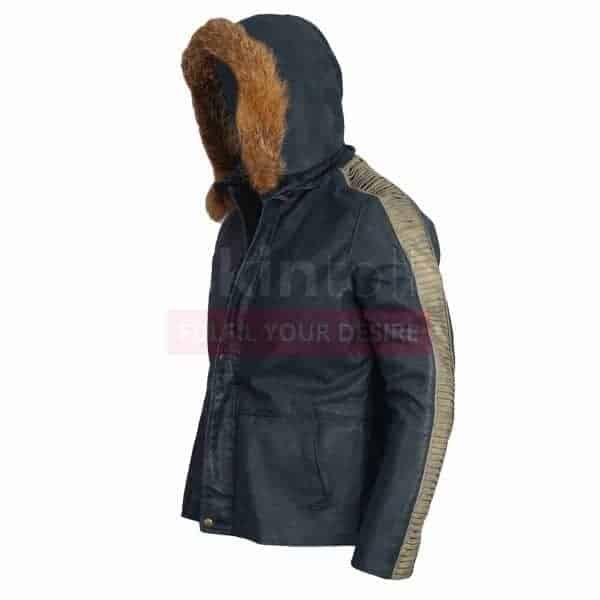 Star Wars Movie Fur Hood Vintage Casual Bomber Real Leather Jacket