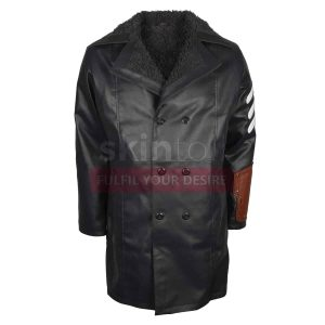 Courtney Captain America Leather Coat with fur