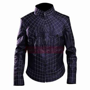 black spider man 2 leather jacket