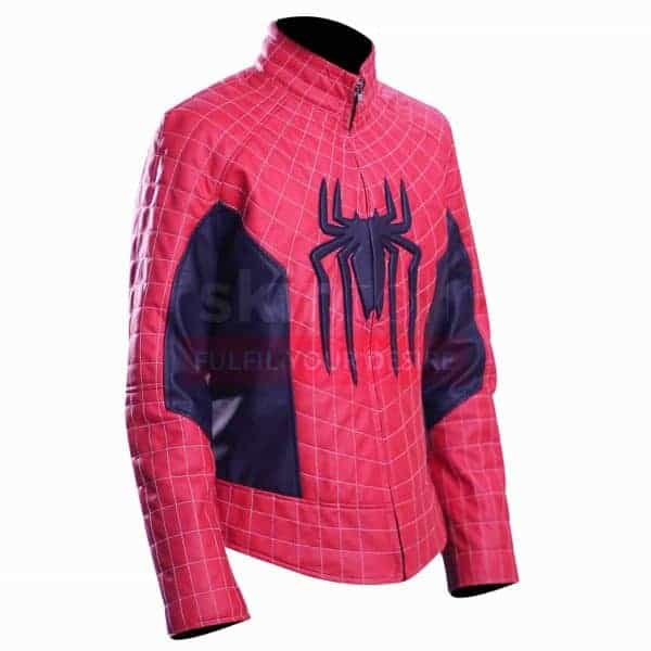 The Amazing Spiderman Peter Parker Mens Red And Blue Cosplay Leather Jacket